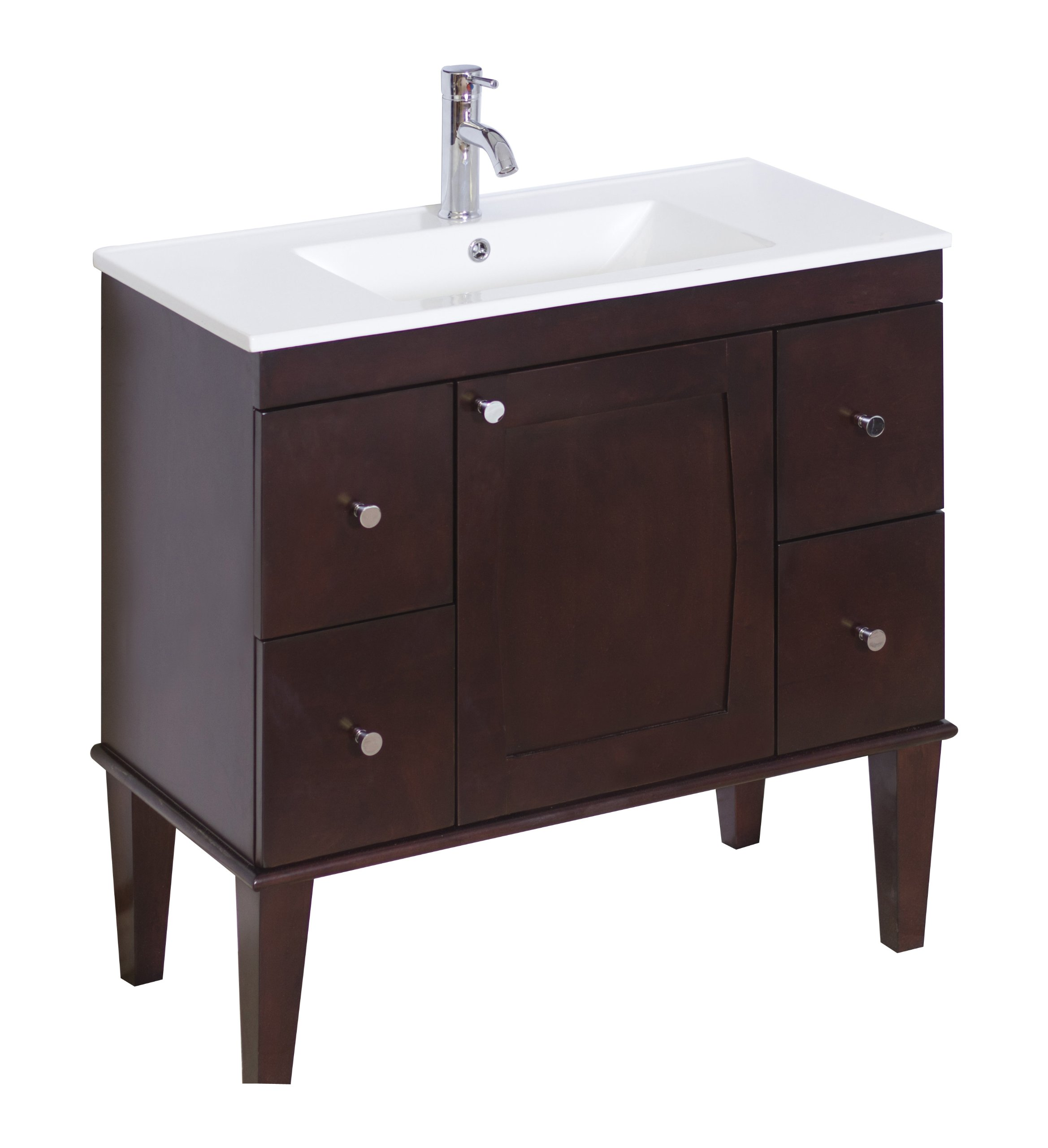 American Imaginations 398   36-Inch W X 18-Inch D Solid Wood Vanity Base with Soft-Close Doors, Antique Walnut Finish by American Imaginations (Image #2)