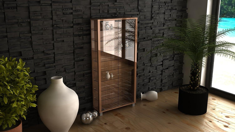 VCM Wall Cabinet Vitrosa Maxi core Walnut/with LED Lighting 906112