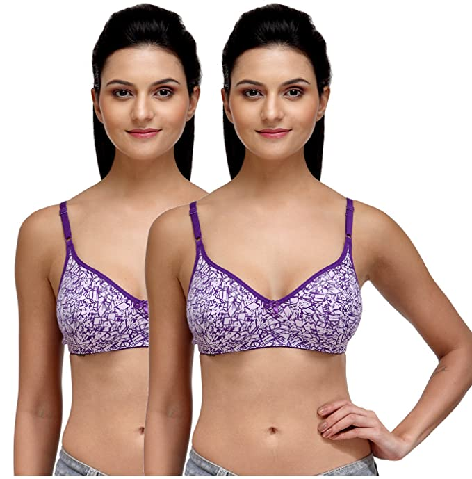 687694b0e0 Fashigo Women s Non Padded Full Coverage Bra Pack of 2  Amazon.in  Clothing    Accessories