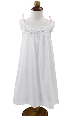 85221f78 Image Unavailable. Image not available for. Color: StylesILove Handmade  Girls' Embroidered Lace Cotton Night Dress ...