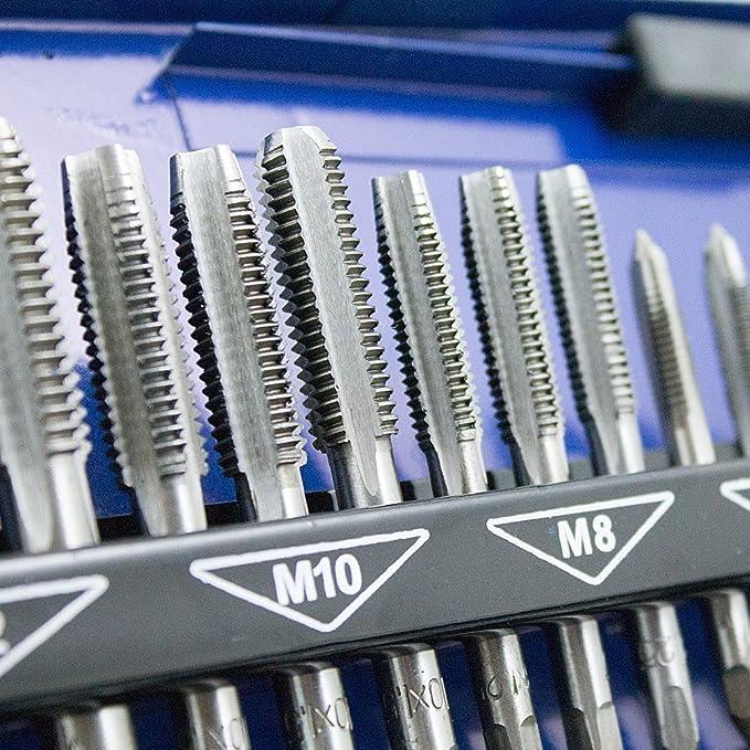 BITUXX® - Juego de 32 machos de aterrajar M3, M4, M5, M6, M8, M10 y M12, con macho delantero, intermedio y de acabado: Amazon.es: Bricolaje y herramientas