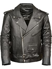 521e7d291960b Event Biker Leather Men's Basic Motorcycle Jacket with Pockets (Black, X- Large)