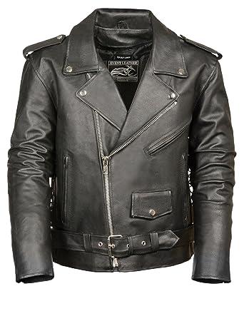 b8d314b1f Event Biker Leather Men's Basic Motorcycle Jacket with Pockets (Black,  X-Large)