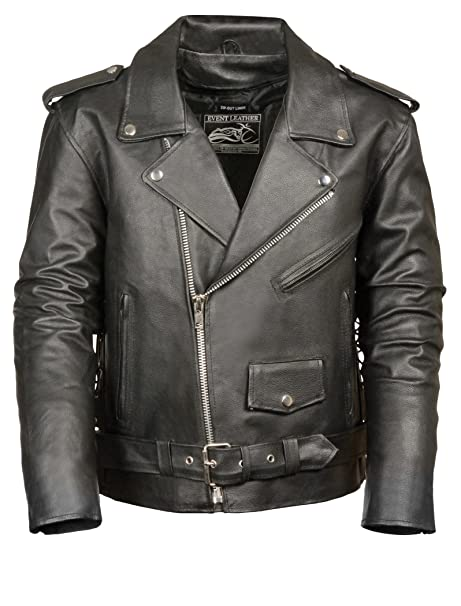 Event Biker Leather Mens Basic Motorcycle Jacket with Pockets (Black, X-Large)