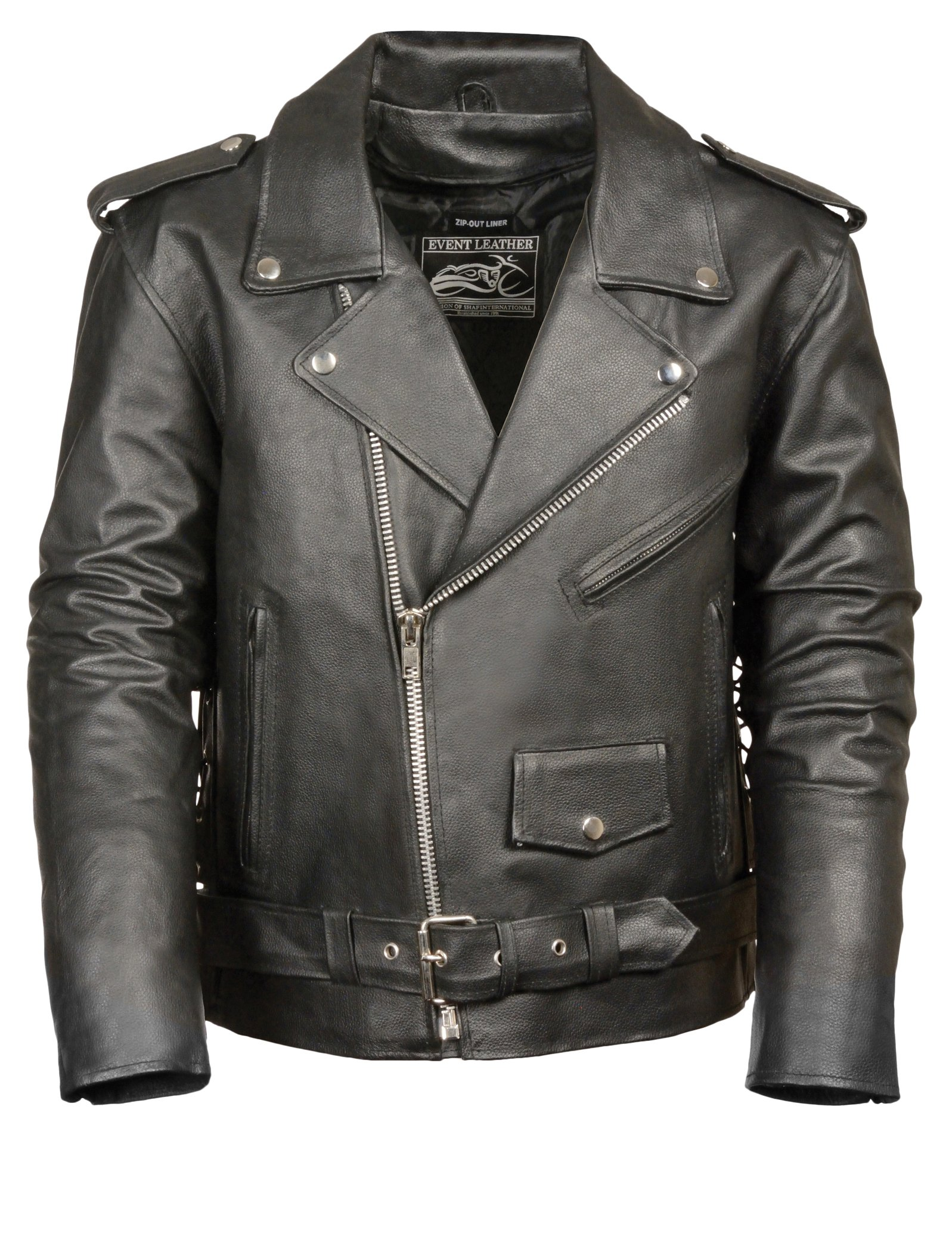Event Biker Leather Men's Basic Motorcycle Jacket with Pockets (Black, Medium)