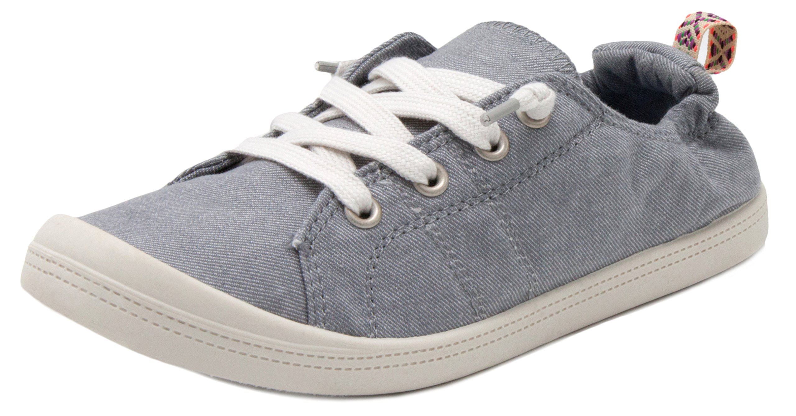 Rampage Women's Grateful Comfortable Slip On Sneaker Shoe with No-Tie Laces and Cute Design 7.5 Grey Wash ed Cotton