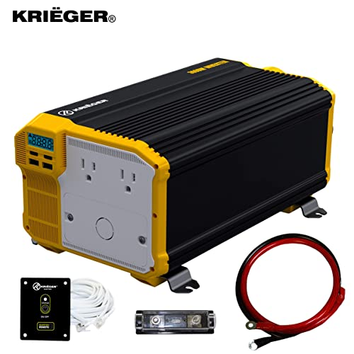 Krieger 3000 Watts Power Inverter 12V to 110V, Modified Sine Wave Car Inverter, Dual 110 Volt AC Outlets, Hardwire Kit, DC to AC Converter with Installation Kit – MET Approved to UL and CSA Standards