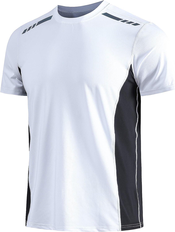 VISIONREAST Mens Sports T-Shirt Stretch Tee Short Sleeve Raglan Sleeve Running Gym Bodybuilding Athletic Tee Shirts