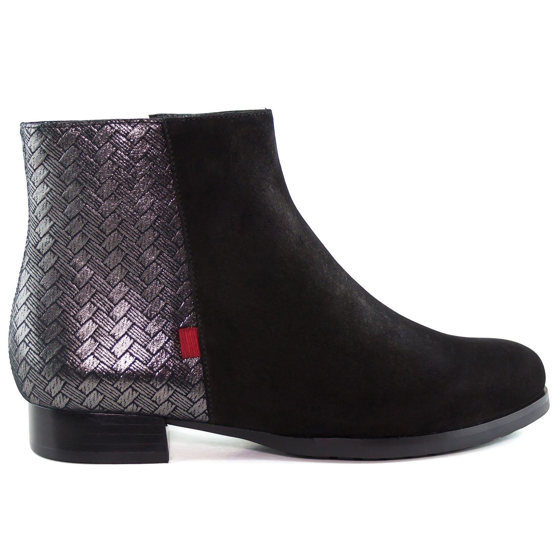 Women's Genuine Leather Made In Brazil Marc Jospeh New York Women's Black Nobuck/Herringbone Ankle Bootie 6.5