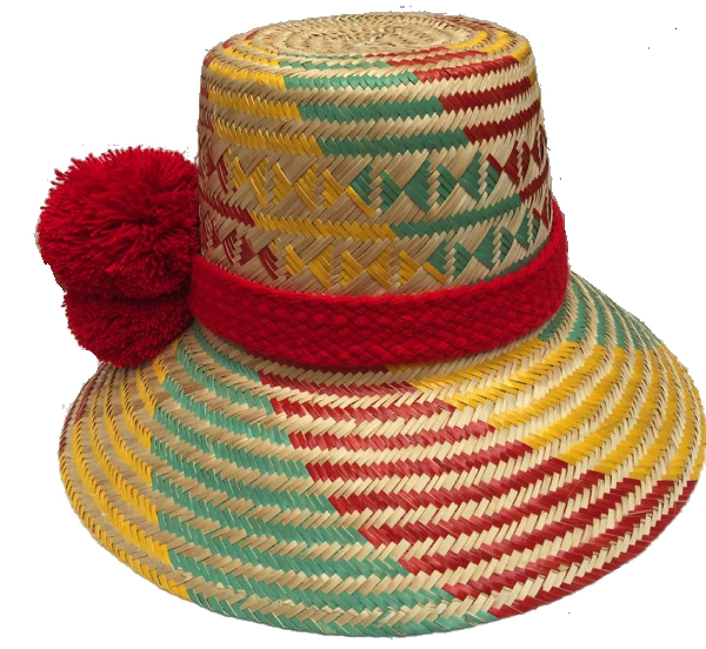 Sun Hat Original Wayuu Pom Poms 100% Iraka Palm Straw Hand-Knitted   Wool  Pompoms at Amazon Women s Clothing store  38949d3faa4