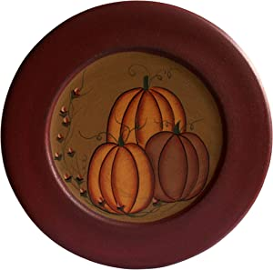 CVHOMEDECO. Primitive Antique Pumpkin Painted Wood Decorative Plate Halloween Display Wooden Plate Home Décor Art, 9-3/4 Inch