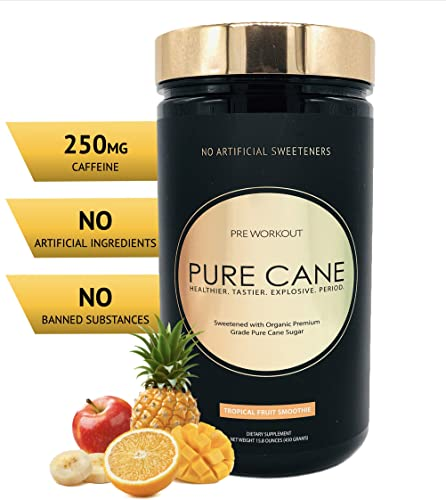 Pure Cane Natural Pre Workout Powder for Men Women – No Artificial Sweeteners, Organically Sweetened, All Natural Flavors – Tropical Fruit Smoothie