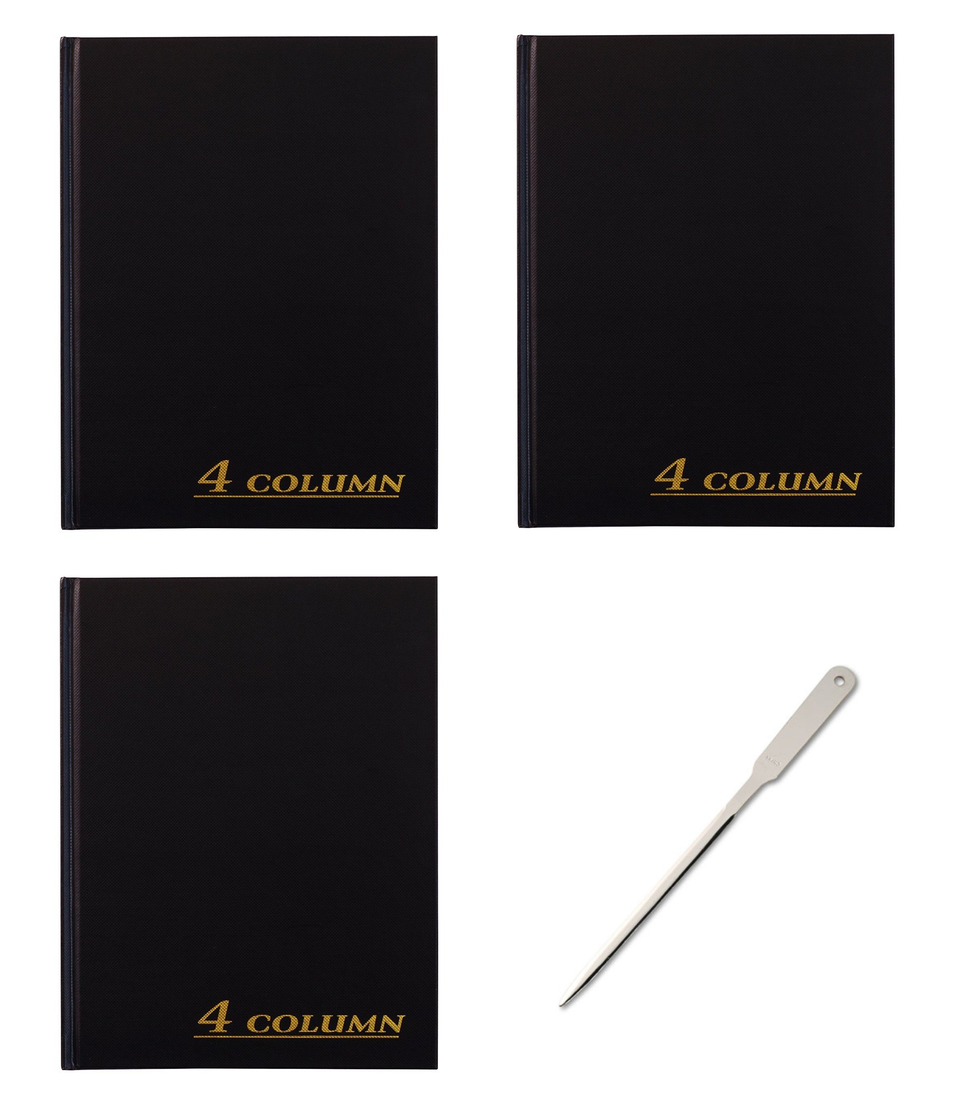 Adams Account Book, 4-Column, Black Cloth Cover, 9.25 x 7 inches, 80 Pages per Book, 3 Books (ARB8004M) - Bundle Includes Universal Letter Opener (3 Pack Bundle)