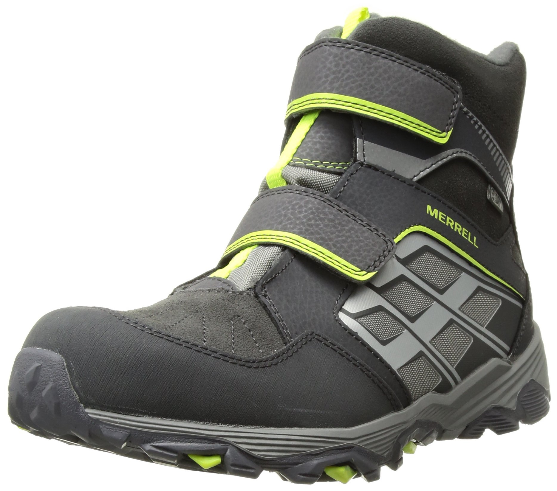 Merrell Moab Fst Polar Mid A/C Waterproof Hiking Boot (Little Kid/Big Kid), Grey, 4 Medium US Big Kid
