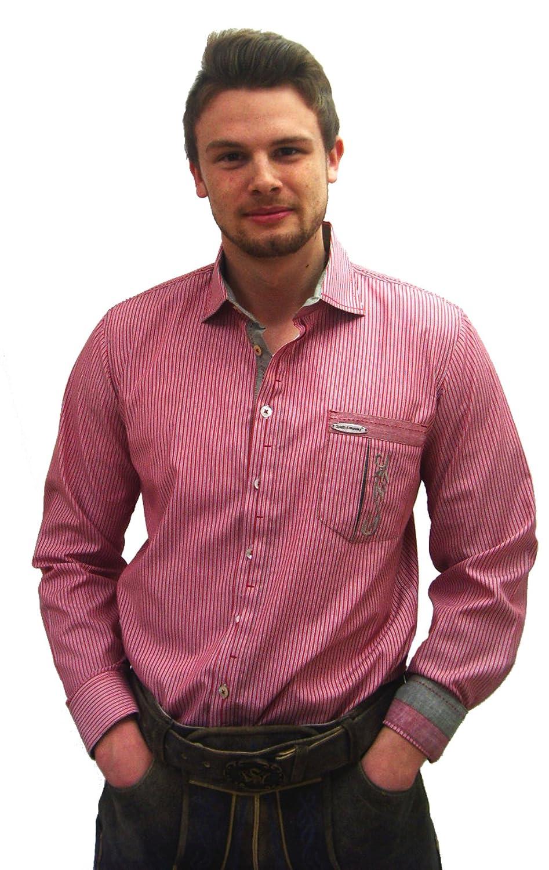 Herren Trachtenhemd rot gestreift Herrenhemd Erich Slim Line Langarm rot