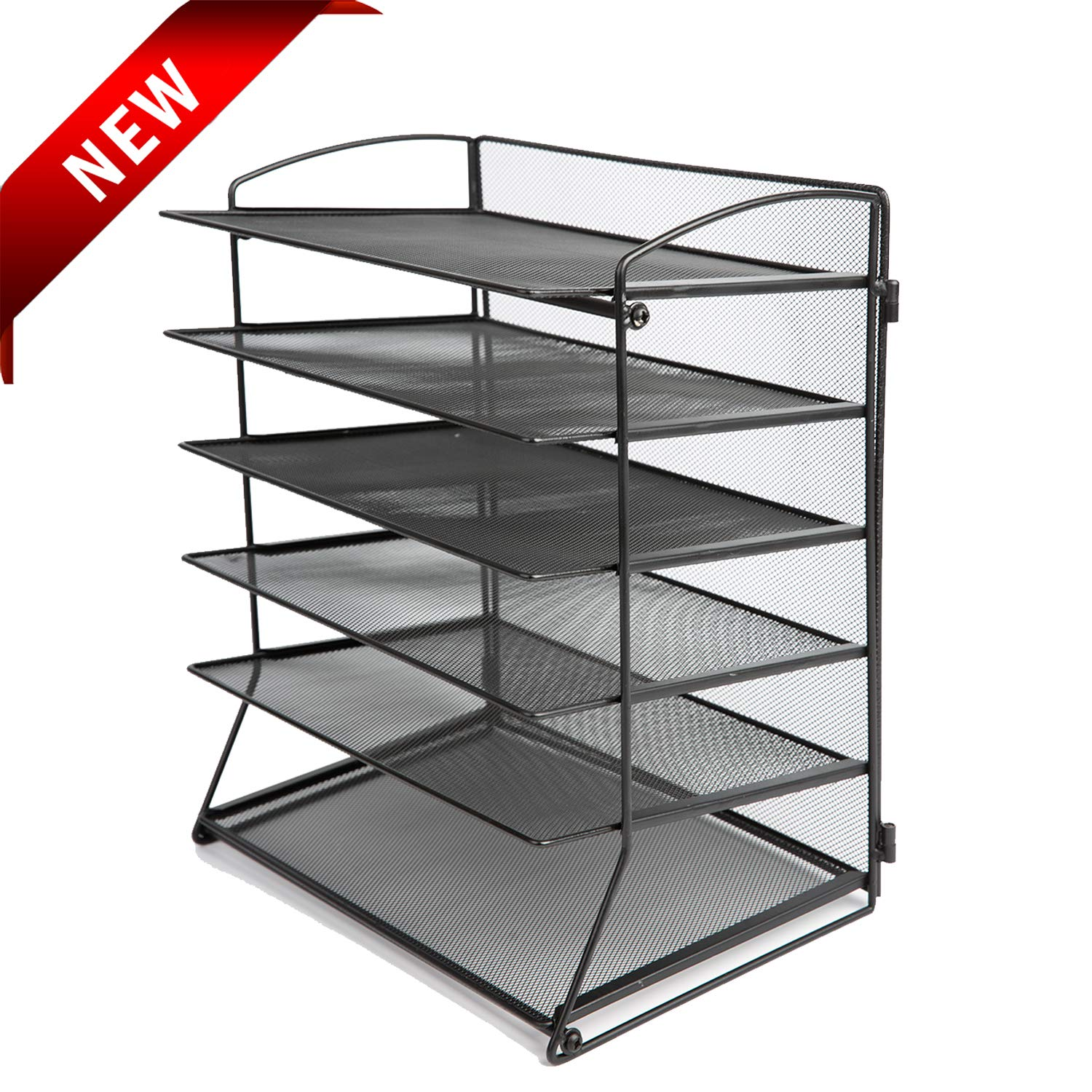 Desk Top File Organizer with 6 Metal Trays Holder for Document Folder Letter Magazine and Paper Rack Home Office Black