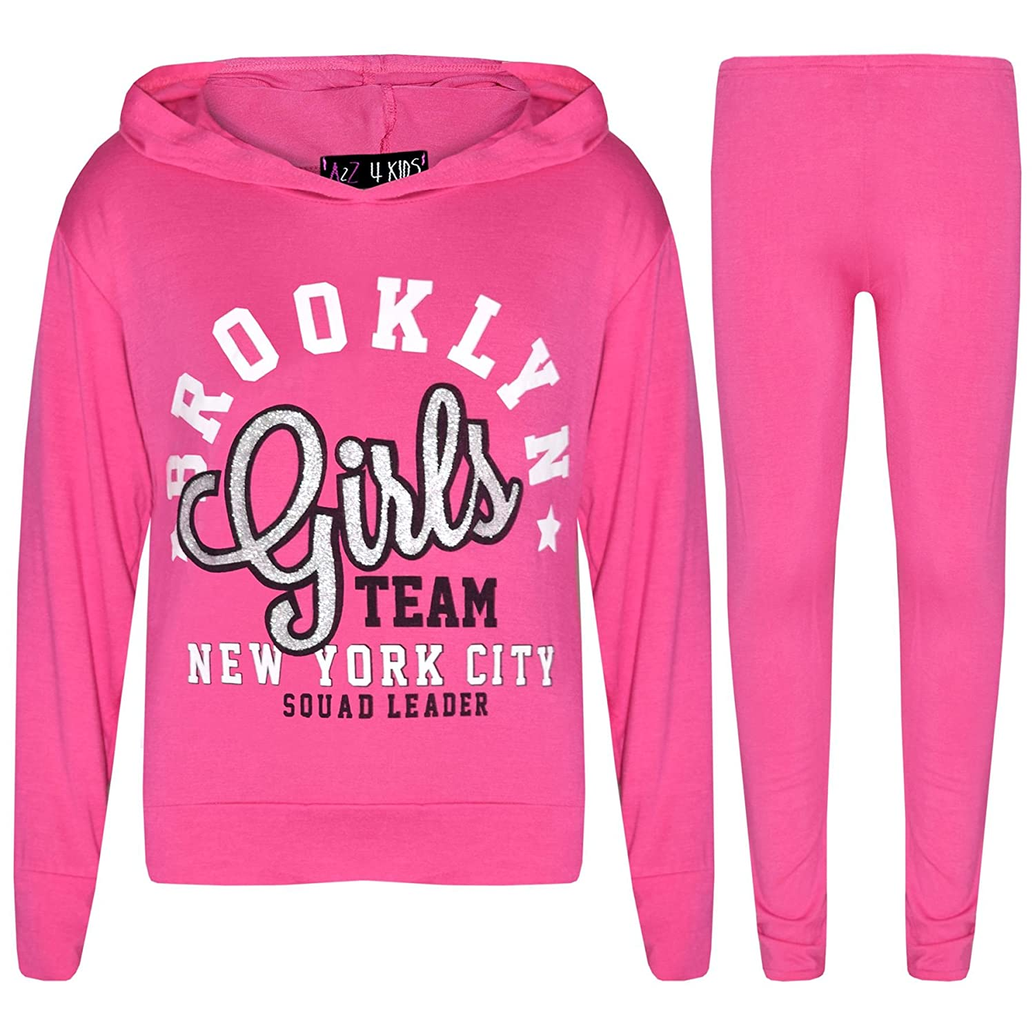 A2Z 4 Kids® Girls Tops Kids Brooklyn Girls Team New York City Squad Leader Print Hooded T Shirt Crop Top & Legging Set Age 7 8 9 10 11 12 13 Years