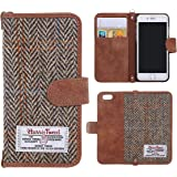 Phone 6/6s Wallet Case MONOJOY Harris Tweed Premium Fabrics and Synthetic Leather Suede Flip Wallet Case Cover Credit Card Holder Non-Slip Cotton Material, Retro Folio Cover Case for iPhone 6 and iPhone 6s (Brown, iPhone 6/6S (4.7 inch)) …