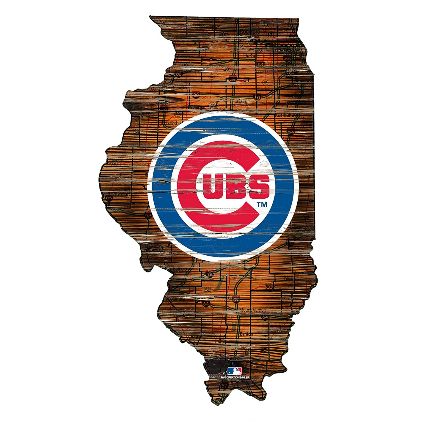 Fan Creations Chicago Cubs 24 State Cutout with Logo Wood Sign