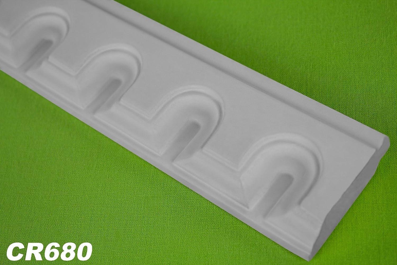 2 metro PU profilo piatto Listello da parete interno DECORAZIONI STUCCO ANTIURTO 50x16 mm, cr680 Grand Decor