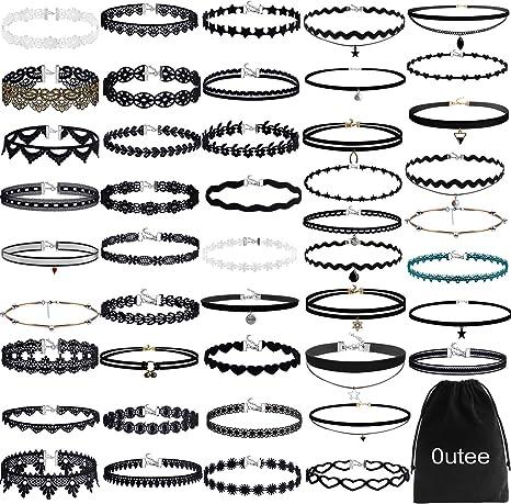 Chocker Sets Outee 10 Pieces Black Velvet Choker Necklace Set Lace Choker