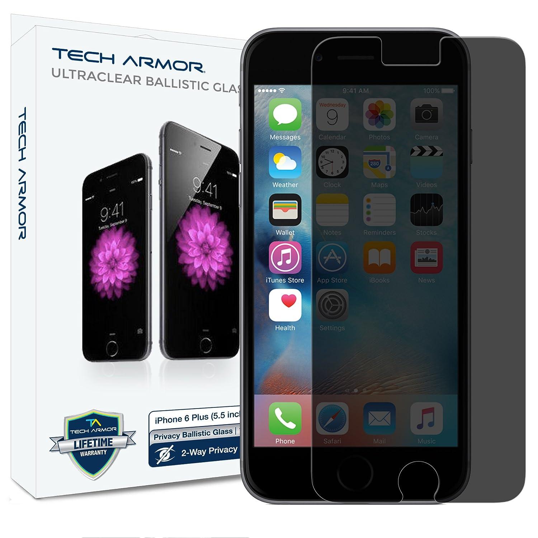 half off 3538f 26de9 iPhone 6 Plus Glass Screen Protector, Tech Armor Privacy Ballistic Glass  Apple iPhone 6S Plus/iPhone 6 Plus (5.5-inch) Screen Protectors [1-Pack]