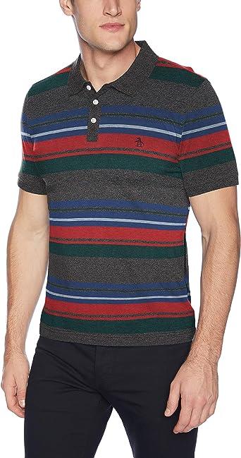 Original Penguin Mens Short Sleeve Stripe Polo, True black, XX ...