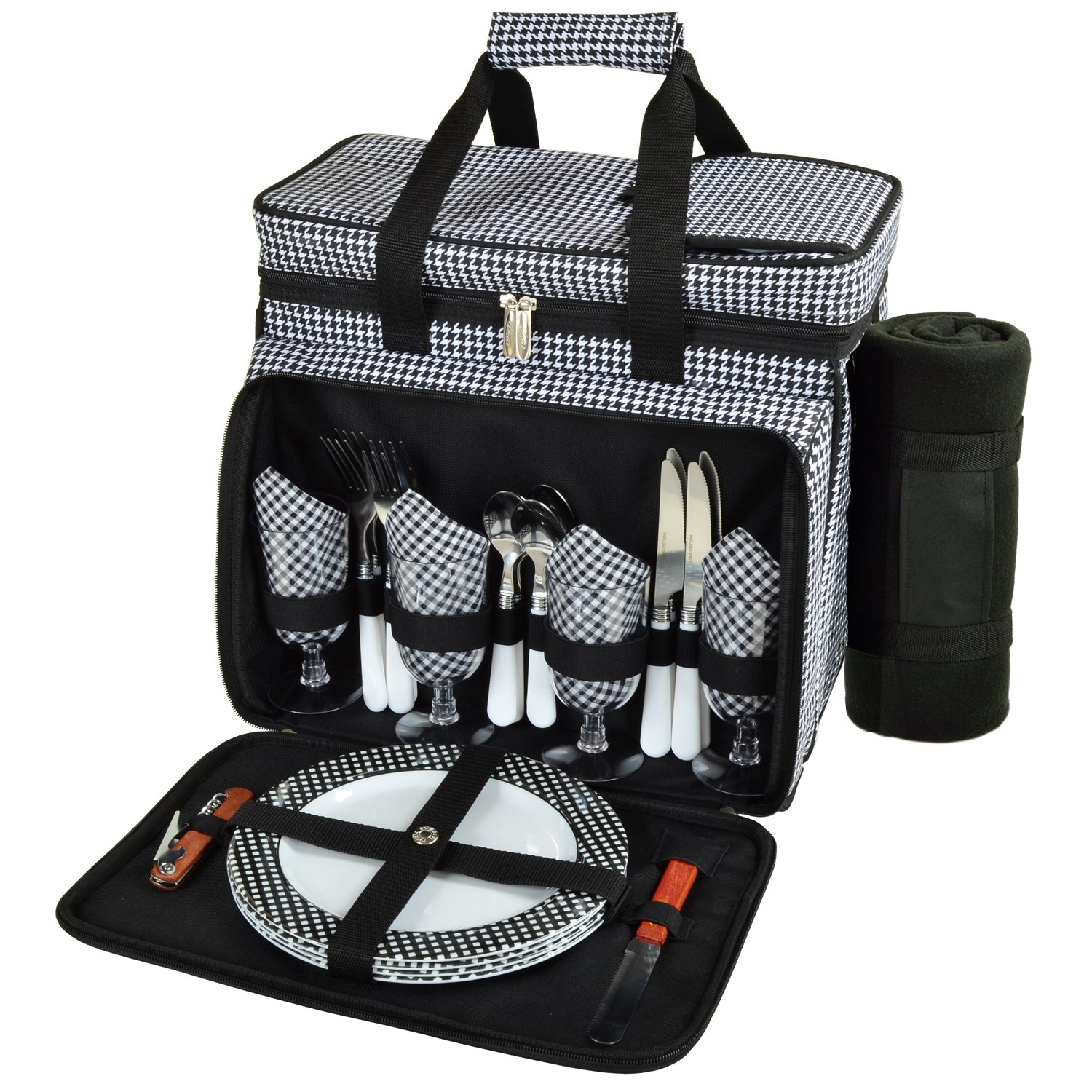 Picnic at Ascot Equipped Insulated Picnic Cooler With Blanket, Black