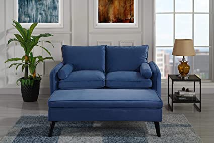 Fabulous Upholstered Velvet Loveseat 59 Inch With Ottoman Foot Stool Navy Beatyapartments Chair Design Images Beatyapartmentscom