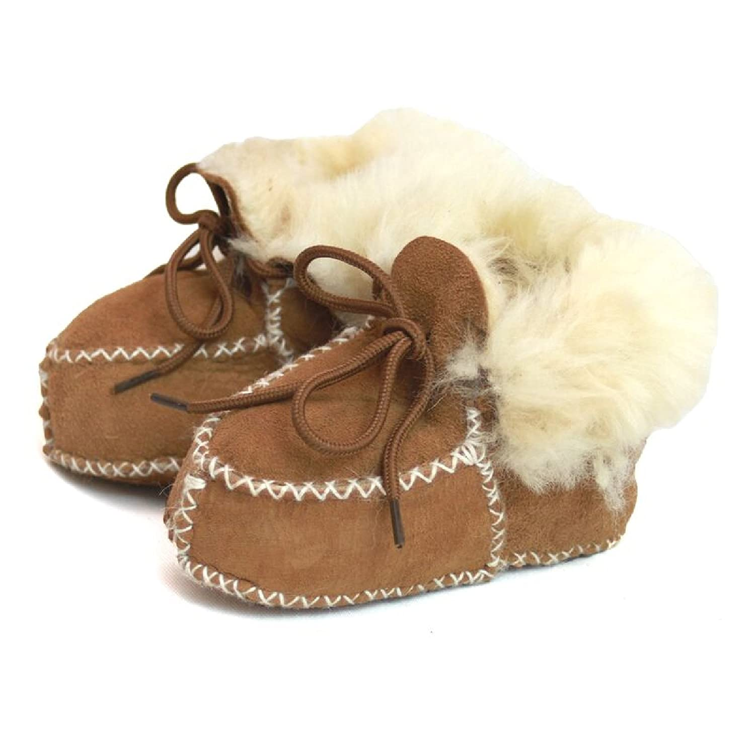 Eastern Counties Leather Baby Sheepskin Lace Tie Booties