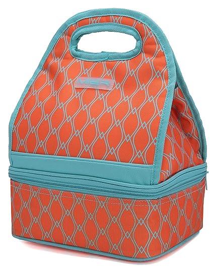 a22722128 MIER bolsa lonchera térmica con compartimento doble bolsa térmica  reutilizable para las mujeres, niños