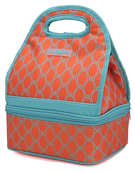 70480021726e MIER Dual Compartment Insulated Lunch Box Bag Reusable Cooler Bag for  Women, Girls(Orange)
