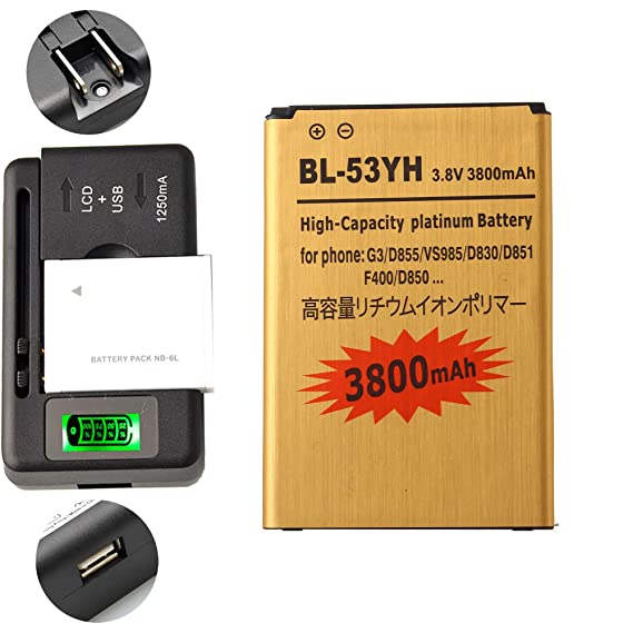 Gold Extended LG G3 D855 High Capacity Battery BL-53YH + Universal Battery  Charger With LED Indicator For LG G3 D855 D850 LS990 VS985 3800 mAh