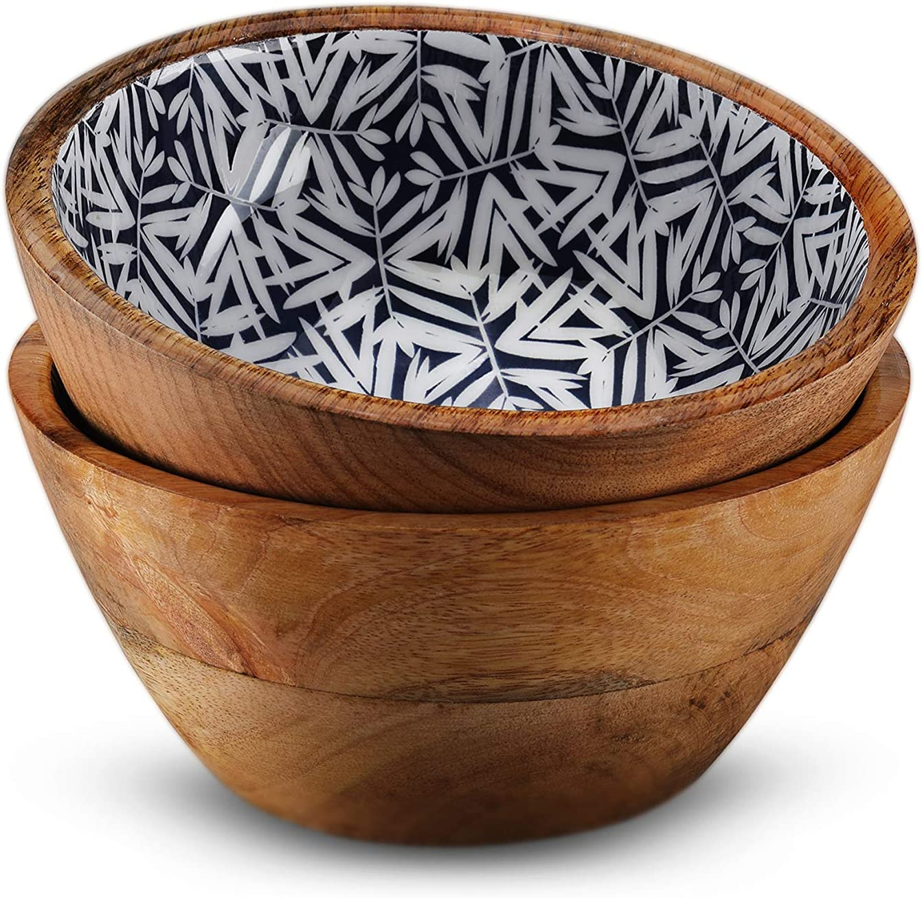 Wooden Bowls for Food or Salad Bowls Set, Small Bowl for Serving Pasta and Cereal, Set of 2 Wood Bowl, 6 inch by 3 inch, Mango Wood, Blue Leaves