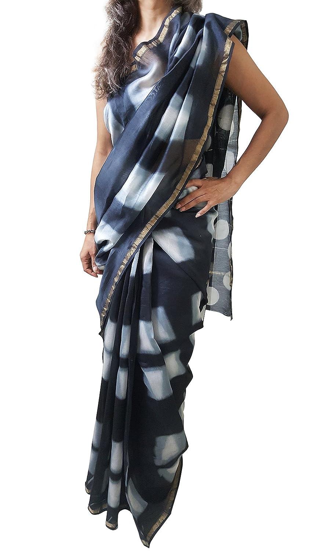 Black & Grey Mehrunnisa BAGRU MAHESHWARI Cotton Silk Saree with Blouse Piece from Jaipur