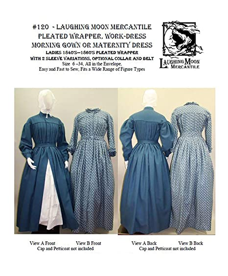 Victorian Sewing Patterns- Dress, Blouse, Hat, Coat, Mens 1840's—1860's Pleated Wrapper Morning Gown Work or Maternity Dress Pattern $22.75 AT vintagedancer.com