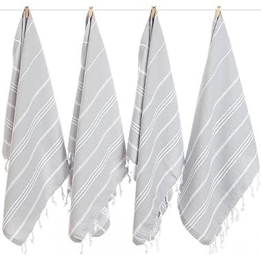 LaModaHome Turkish Towel Set of 6, Hand Towel, Bath Towel