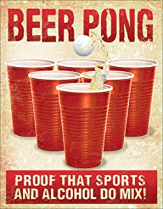 "Desperate Enterprises Beer Pong Tin Sign, 12.5"" W x 16"" H"