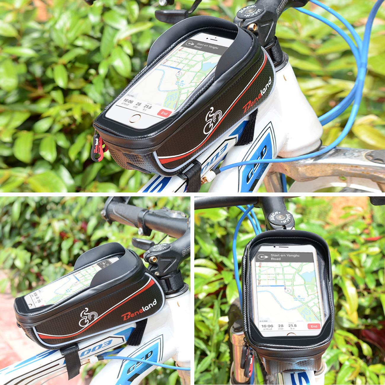 Bike Bag, Frame Bike Bag with Waterproof Touch Screen Phone Holder Case for iPhone X 8 7 6s 6 plus 5s 5/Samsung Galaxy s7 s6 note 7 Cellphone Below 6.0 Inch by Beneland (Image #7)