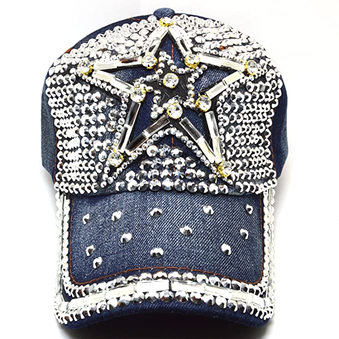 cc41cc5c1a9 AblessYo Jean Rhinestone Studded Sparkly Bling Star Baseball Cap Women Hats  AYO1137 (STAR01) at Amazon Women s Clothing store