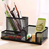 Authentic Music 555-3 Sections Metal Lacquer Pen Stand With Original Hologram for Office & Home Use ; Black