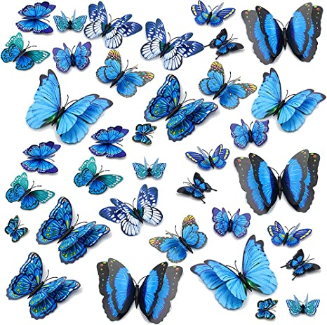 Bedroom Living Room Children Room Butterfly Stickers 12 Pieces of 3D Double Wings Butterfly Wall Decal Decoration Removable Butterfly Wall Stickers Blue