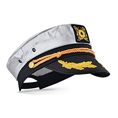 Captain Ford's Unisex Snapback Neon Captain Hat - Perfect for Parties (Silver): Clothing