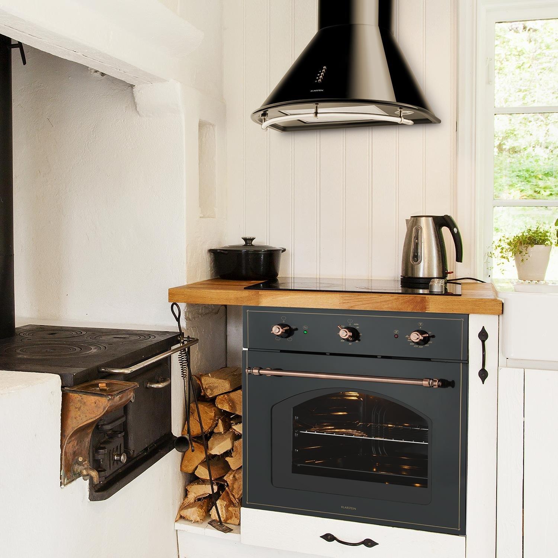 Klarstein Set Vilhelmine y Noir Prima (horno empotrable de 55 litros, campana extractora con capacidad de 430 m³/h, diseño victoriano) - negro: Amazon.es: ...