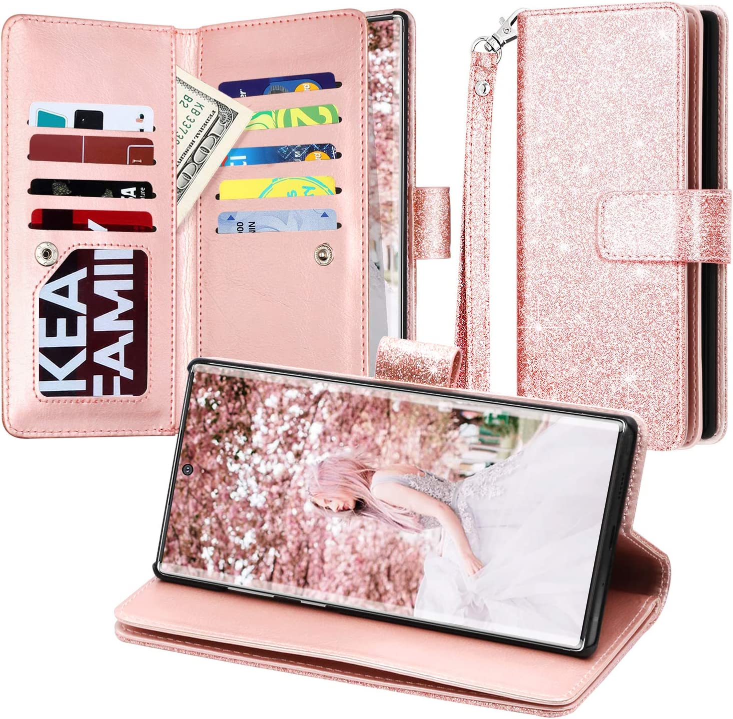 Flip Case Fit for Samsung Galaxy Note 10 plus Card Holders Kickstand Luxury Leather Cover Wallet for Samsung Galaxy Note 10 plus
