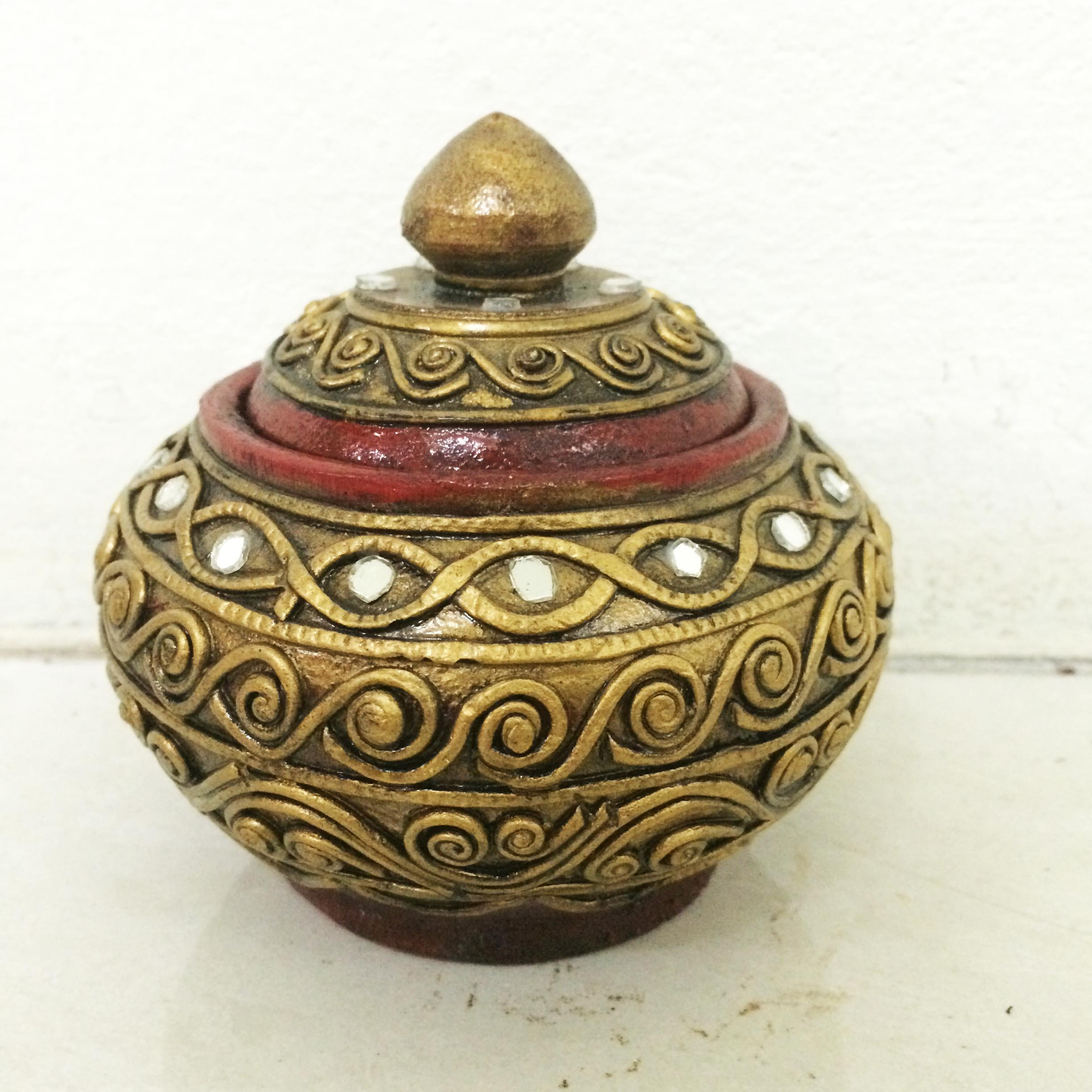 Thai Old Antique Crafted Vintage Old Handmade Carved Jewelry Wooden Trinket Casket BOX by Zeodus
