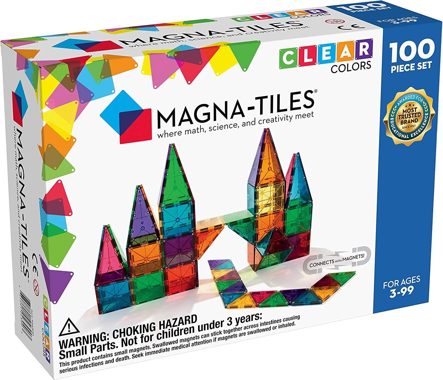 Magna-Tiles 100-Piece Clear Colors Set, The Original Magnetic Building Tiles For Creative Open-Ended Play, Educational Toys For Children Ages 3 Years +: Toys & Games