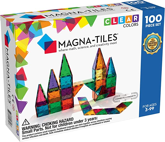 Magna-Tiles 100-Piece Clear Colors Set, The Original Magnetic Building Tiles For Creative Open-Ended Play, Educational Toys For Children Ages 3 Years + | Amazon
