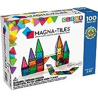 Magna Tiles 1517888 3-D Magnetic Building Tiles, Clear Colors, 100 Piece Set