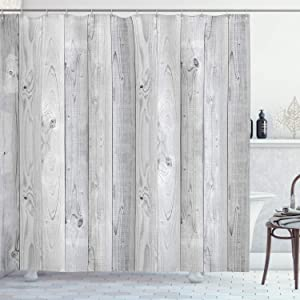 """Ambesonne Grey Shower Curtain, Picture of Smooth Oak Wood Texture in Old Fashion Retro Style Horizontal Nature Design Home, Cloth Fabric Bathroom Decor Set with Hooks, 84"""" Long Extra, Grey"""